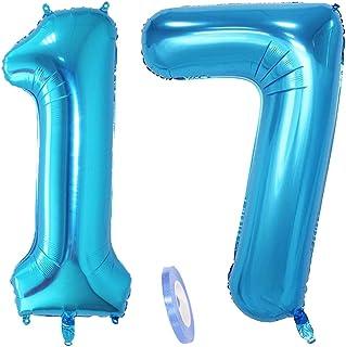"""2 globos numeros 17, número 17 azul niñas niño infantil ,40"""" figuras globo inflable gigante grande de papel de helio number globo azules para cumpleaños 17 años niños decoración de fiesta (xxxl 100cm)"""