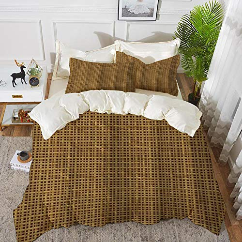 Duvet Cover Set, Bed Sheets, Twig Rush Rattan Cane Beige Straw Rotang Wicker Bamboo Pattern Design,Microfibre Duvet Cover Set 200 x 200 cmwith 2 Pillowcase 50 X 80cm
