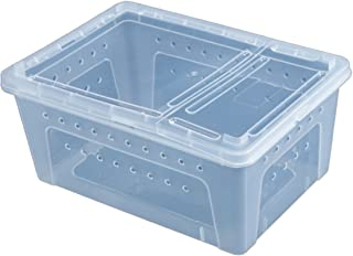 Fcoson Rectangle Feeding Box Transparent Reptile Cage Hatching Container for Spider Lizard Frog Cricket Turtle Crab Snack