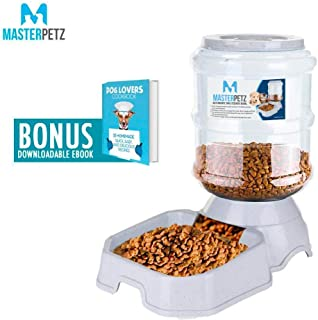 Automatic Cat Feeder Dog Food Bowl for Dogs Cats Pet Puppy Kitten Small Medium Pet Under 30 Lbs, 6 lbs Capacity Gravity Food Dispenser Feeding Bowl, Dog Recipe eBook Included