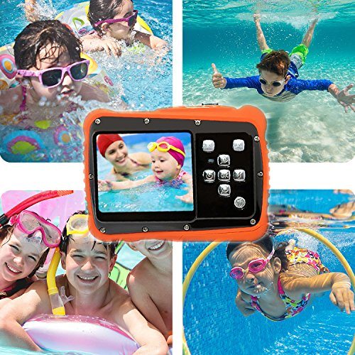 iShare Kids Camera, 12MP HD Waterproof Camcorders with 2 Inch LCD 4x Digital Zoom and Mic, Outdoor 3M Underwater for Girls/Boys (Black)