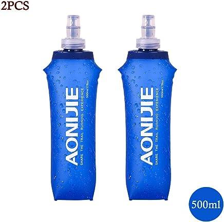 Lixada 450ml / 500ml Opcional Botella Plegable Suave BPA de Agua Plegable Hidratación, Ultraligero para Ciclismo, Acampar, Senderismo, Excursionismo