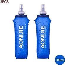 Docooler AONIJIE Botella de Agua Plegable de PVC Suave Deportiva BPA Corriente Eléctrica Suave Senderismo Flask Botella de Hidratación, 250ML/500ML