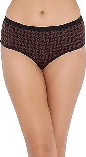 Clovia Women's Mid Waist Printed Hipster Panty in Dark Brown - Cotton