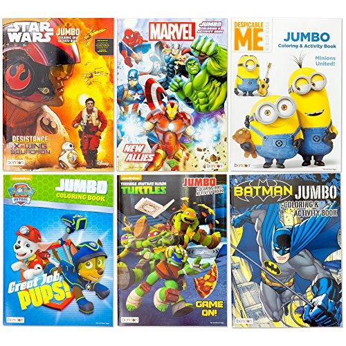 Kids Coloring & Activity Book Featuring Paw Patrol Marvel Avenger Thor Hulk Captain America Spiderman Ironman Ninja Turtles Batman Despicable Me Minions Star Wars | 6 Different Jumbo Books