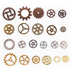 Teenitor 100 Gram Assorted Antique Steampunk Gears Charms Cogs Pendant Clock Watch Wheel Gear for Crafting Jewelry Making Accessory Bronze Copper Gold & Silver Mixed Color (Approx 70pcs) #4
