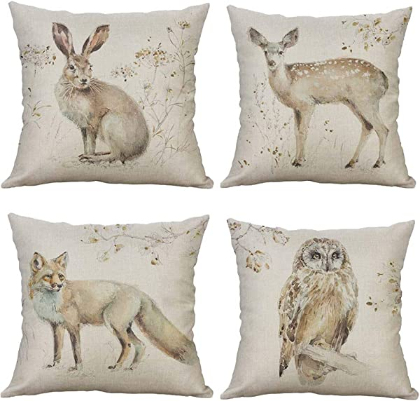 SLS Watercolor Forest Animal Wolf Owl Rabbit Deer Cotton Linen Decorative Throw Pillow Case Cushion Cover Lion Piillow Case 18 X18 Fox Set Of 4