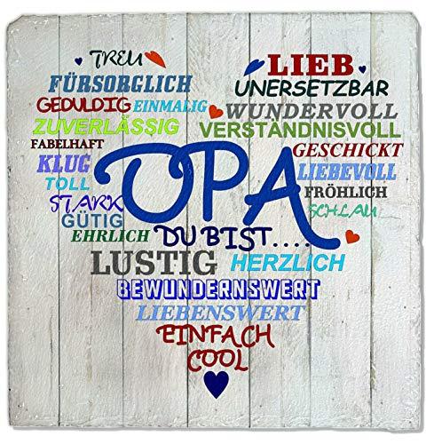 Feiner-Tropfen Wand-Schild Opa mit Herz Schiefer - Deko Wandbild Druck Schilder M-HOpa 20x20cm