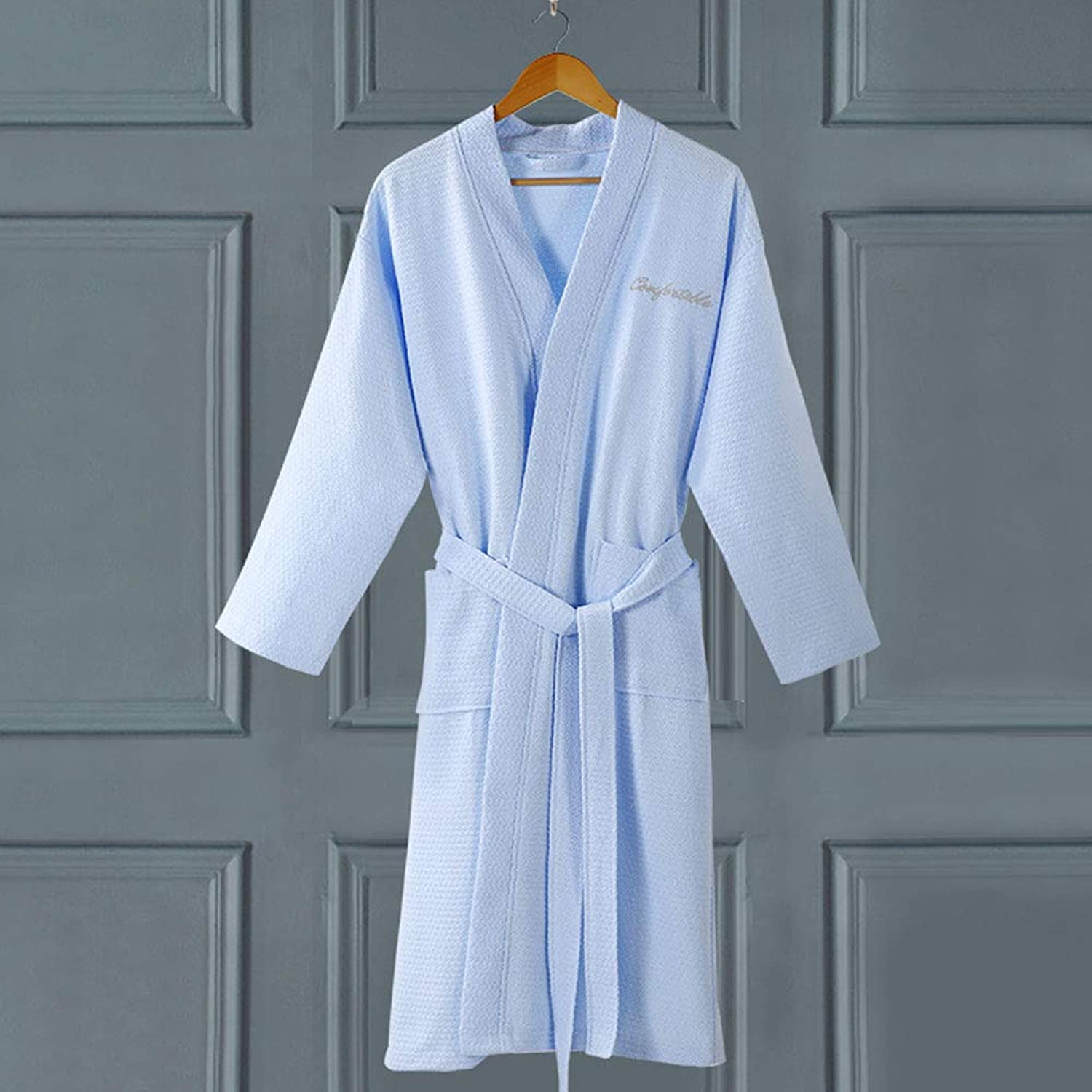 Bathrobes Men Women Thin Bath Robe Soft Cotton Sleepwear Solid color Waffle Kimono