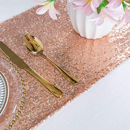 decorazioni natalizie rosa gold ShinyBeauty Runner da Tavolo con Paillettes Runner con Paillettes per la Decorazione di Eventi/Matrimoni 12 * 72 Pollici (può Scegliere Il Colore) 30 * 180 cm (Oro Rosa