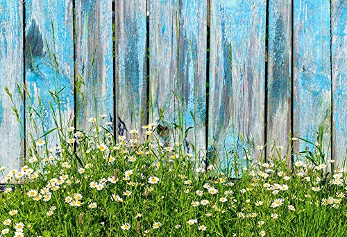 Telones de Fondo Cumpleaños Boda Tablero de Madera Flores de Primavera Tablones con borlas Decoración Fotografía Fondo Estudio fotográfico Photocall A35 10x10ft / 3x3m