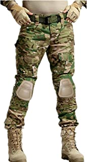 KYhao Military Paintball Camo Tactical Combat Trousers Airsoft Pants Multi-Pocket Duty Pants Knee Pads