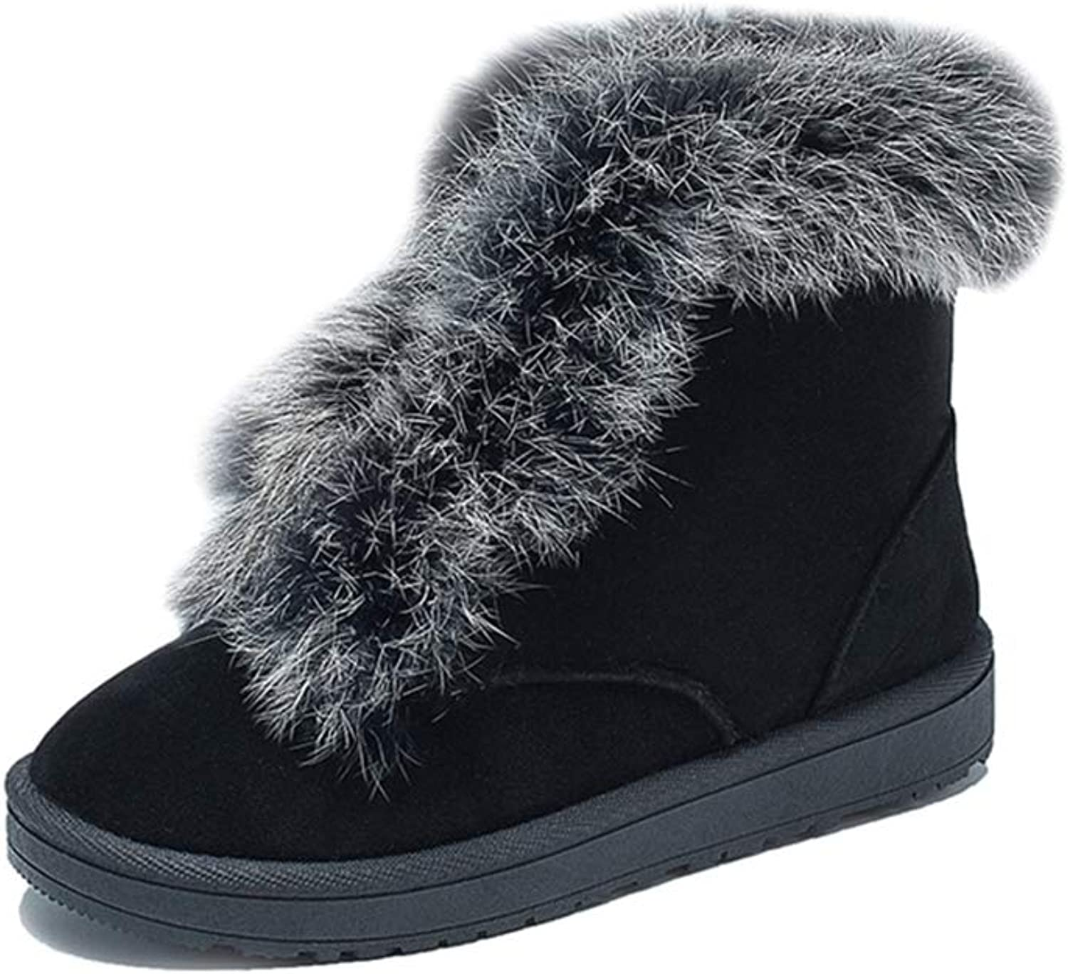 T-JULY New Winter Female Cotton Snow Boots Fashion Casual Ankle Boots Flock Black Plush Warm shoes
