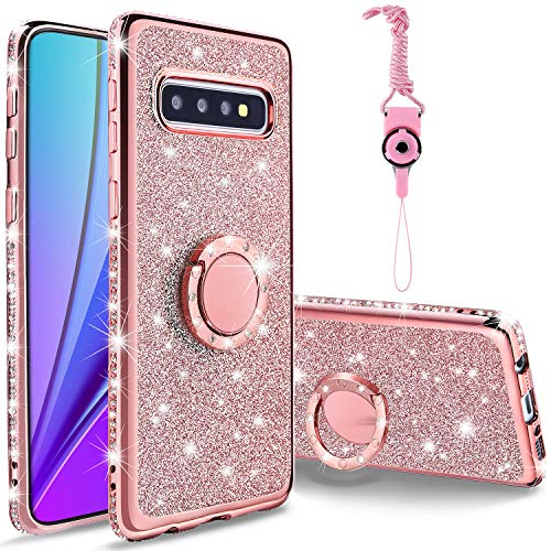 KUOGAS for Samsung Galaxy S10 Diamond Case, Cute Bling Glitter Rhinestone Crystal Shiny Sparkle Protective Cover with Electroplate Plating Bumper Luxury Fashion Case for Galaxy S10 (Rose Gold)