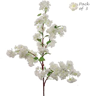 Larskilk White Cherry Blossom Flowers, Three 30 Inch White Blossom Stems, Wedding, Party, Event, Japan's National Flower