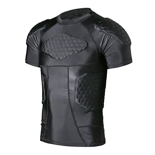 6d87acfa811e99 TUOY Men s Padded Compression Shirt Protective T Shirt Rib Chest Protector  for Football Paintball Baseball