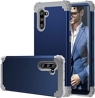 Samsung Note 10 Case, Galaxy Note 10 Case, Fingic 3 in 1 Hybrid Hard PC Soft Silicone Heavy Duty Rugged Bumper Shockproof Anti Slip Full-Body Protective Phone Case for Samsung Galaxy Note 10,Navy Blue