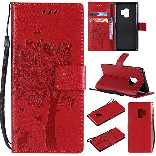 THRION Samsung Galaxy S9 Hülle, PU Cat und Baum Brieftaschenetui mit magnetischer Handschlaufe und Ständerhalterung für Samsung Galaxy S9, Rot#1