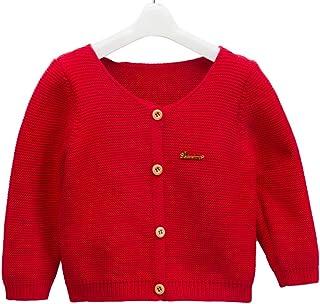mubenshang Baby Girl Solid White Cardigan Sweater for Toddler 0-3 Years