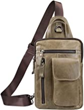 Tippnox Men's Leather Sling Bag Multipurpose Crossbody Shoulder Chest Daypack Backpacks Outdoor Travel Packs (Khaki)