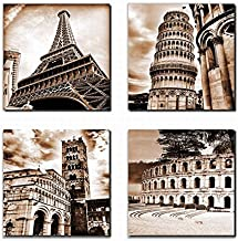 Canvas Wall Art Famous Old Architecture Canvas Artwork - 4 Piece Framed Canvas Art for Wall Decor - Contemporary Canvas Pi...