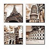 4B004 Leinwanddruck, Motiv: Pariser Eiffelturm, schiefe