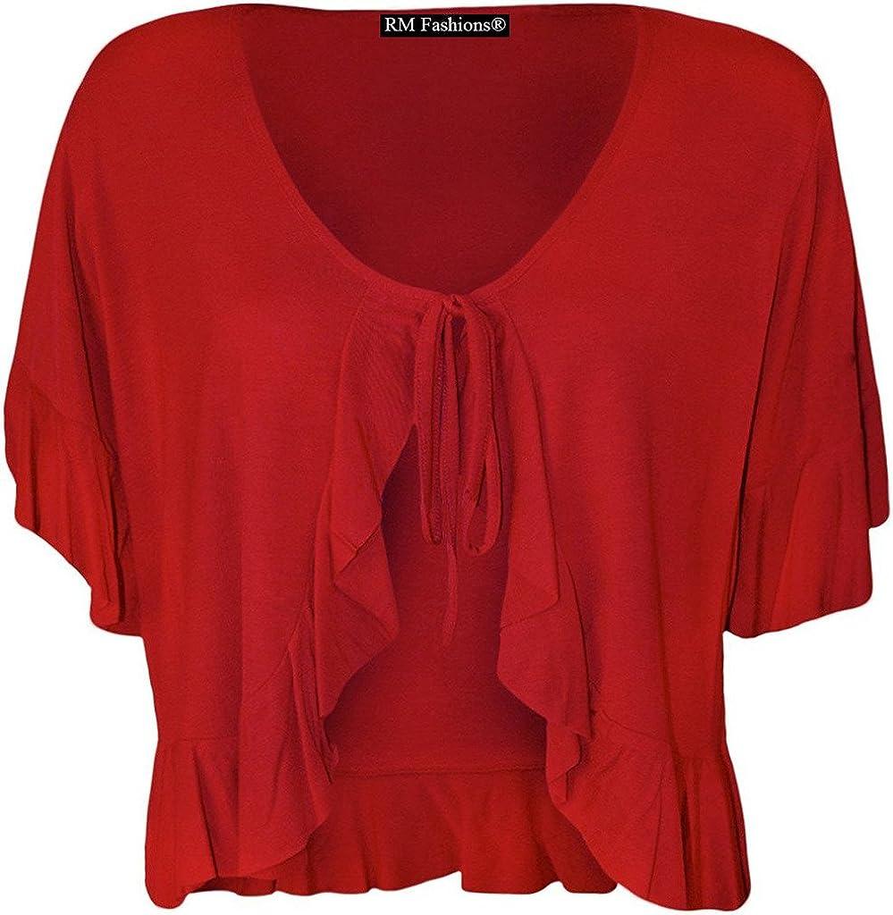 RM Fashions Women's Plus Size Frill Tie Bolero Shrug Cardigan - Red - US 22-24 (UK 26-28)