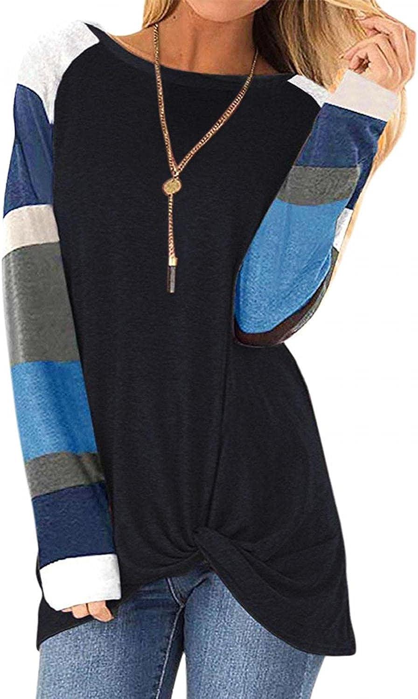AODONG Sweatshirt for Women,Womens Color Block Shirts Long Sleeve Crewneck Sweatshirts Casual Blouses Tunic Pullover