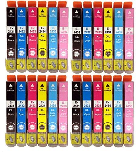 4 set completi di cartucce d'inchiostro T2438, 24 pezzi in totale, alta capacità, compatibili, non originali, per stampante a getto d'inchiostro EPSON Expression Premium -750, -850 , XP- , XP- & XP-950 per serie 24XL ELEPHANT T2431 nero, T2432 ciano, T2433 magenta, T2434 giallo, T2435 ciano chiaro, T2436 magenta chiaro, chip di Gobal Toners.