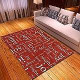 Dayoyo Große Rugs Teppiche Kleine Fläche Dicken Antifouling HD Anti Slip Flauschigen Teppich,L2892 roter Buchstabe Waschbares Schlafzimmer Boden Zusatz Hauptwohnzimmer der Retro modernen Art-160x300cm