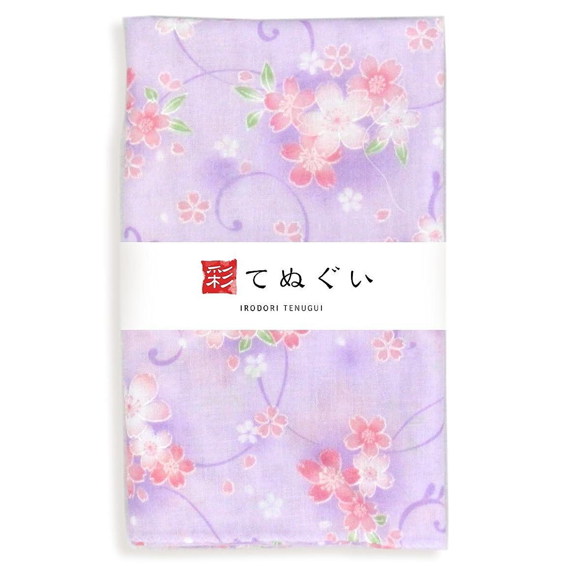 直接シーケンスクローン彩(irodori) ガーゼ手ぬぐい サクラ パープル 紫 日本製 てぬぐい 二重袷 二重ガーゼ ほつれ防止加工 約33×88cm