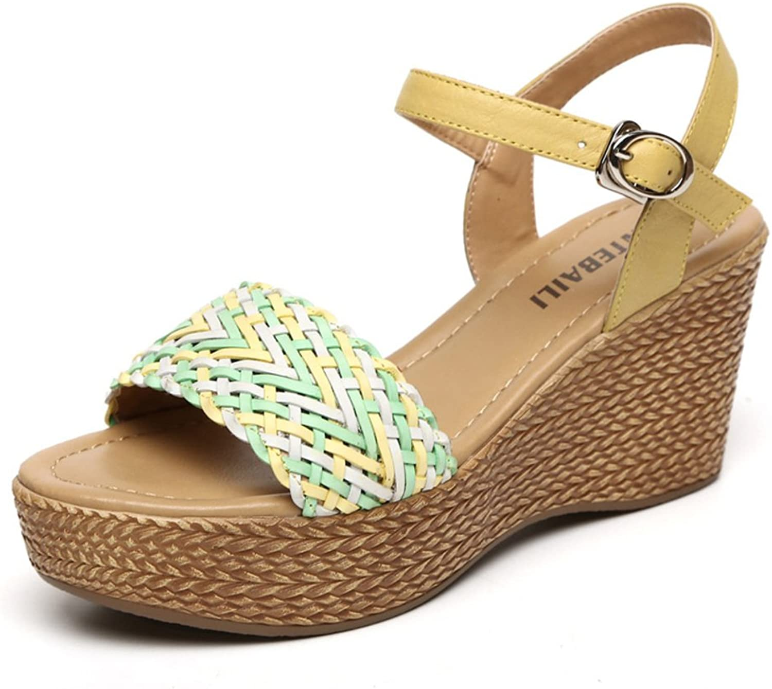 Leather wedge sandals Thick with the loose cake waterproof platform sandals Woven shoes