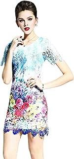 Women's Elegant Short Sleeve Floral Lace Cocktail Dress