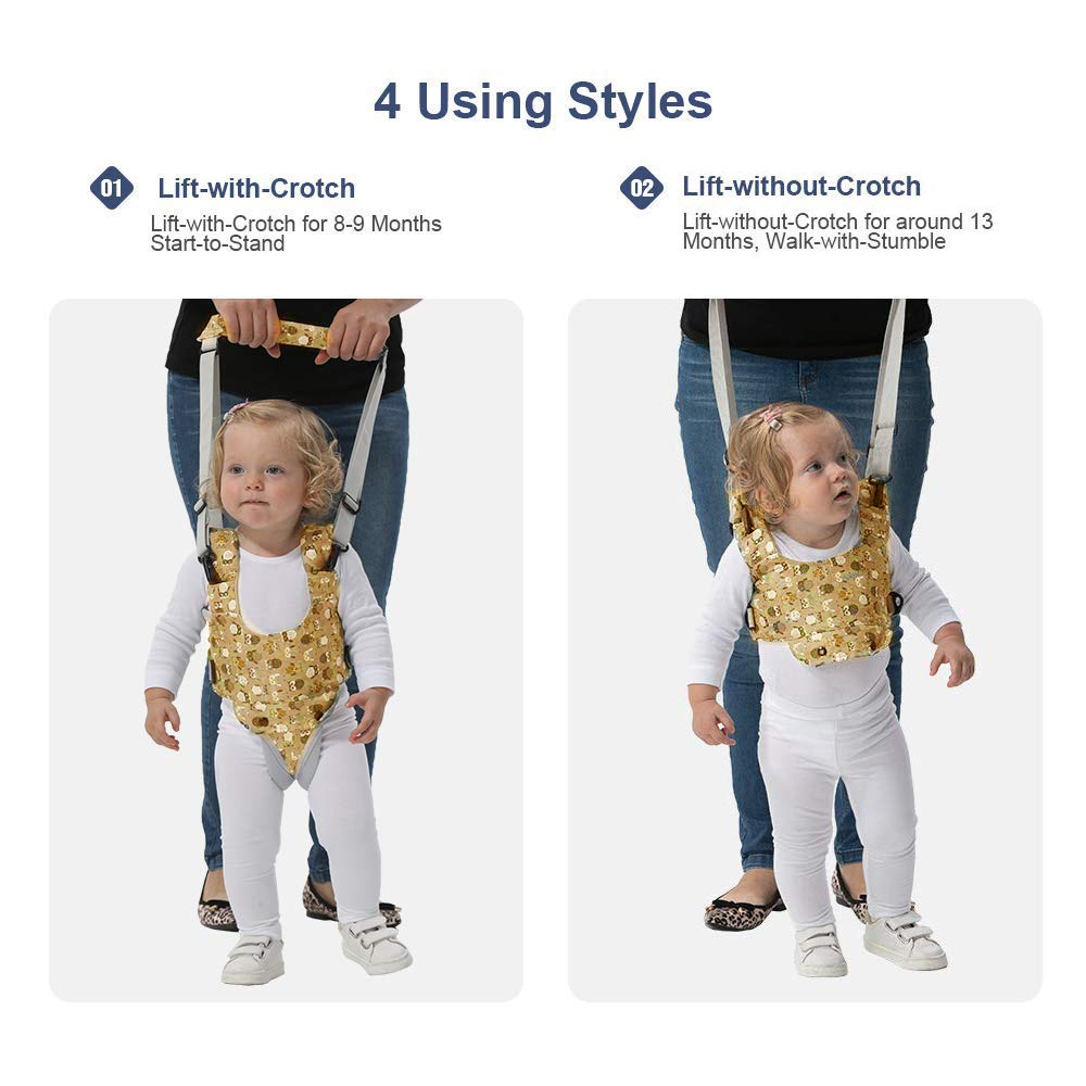 Baby Walker Yellow Baby Walking Harness Sit to Stand Learning Helper Hand-held Assistant with Crotch Adjustable Safety Lifting /& Pulling Dual-use Owl Print for Toddlers Infant Kids Activity