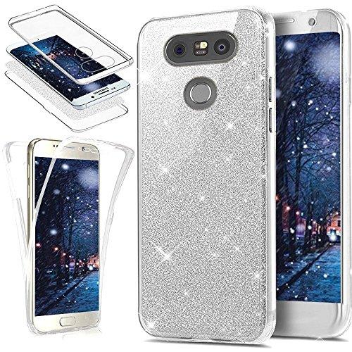JAWSEU LG G5 Cover Silicone TPU Trasparente, [360 Gradi] 3 in 1 Protezione Completa Glitter Sparkle Bling Custodia Ultra Sottile Flessibile Morbida Soft Gel Bumper Coperture