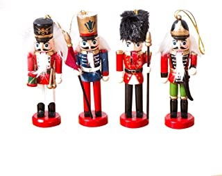 Wooden Nutcracker Puppet Red Soldier On Stand Gift Doll Set Christmas Decoration for Office Home