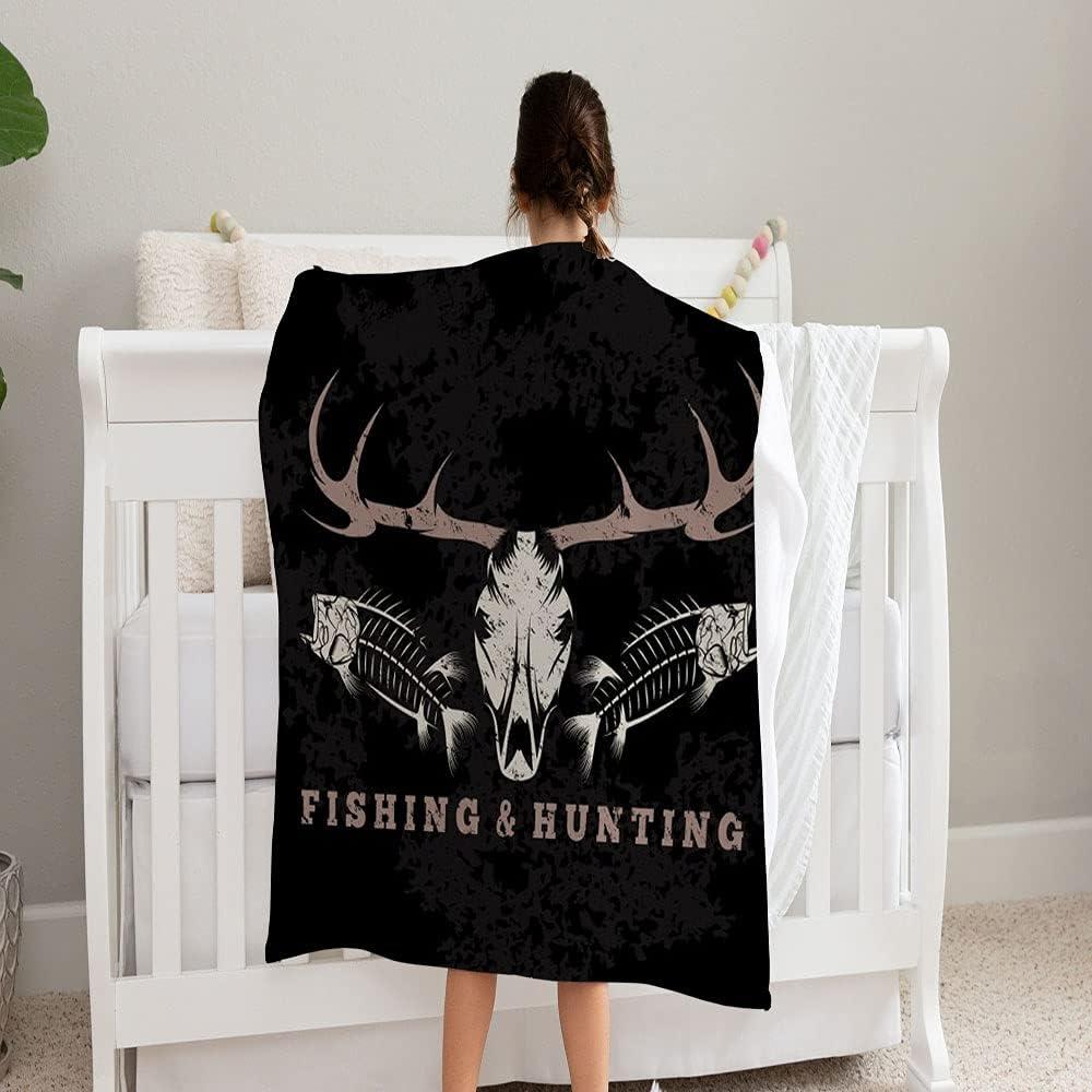 LPVLUX Hunting Fishing Max 70% OFF Vintage Grunge Blanket Trust Emblem Skulls Sup