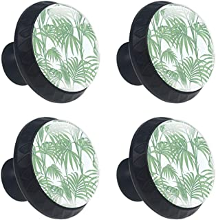 Anmarco Jungle Palm Green Drawer Knobs Pull Handles 30MM 4 Pcs Glass Cabinet Drawer Pulls for Home Kitchen Cupboard