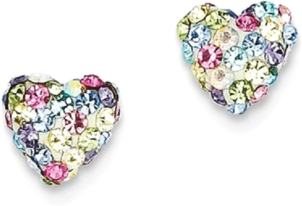 14k Yellow Gold Pastel Multi Colored Crystal 6mm Heart Post Stud Earrings Ball Button Love Fine Jewelry For Women Gifts For Her