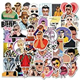 TTBH Hot Puerto Rican Singer Bad Bunny Stickers PVC for Stationery Decal Motorcycle Skateboard Laptop Guitar Bike Cool Sticker50Pcs