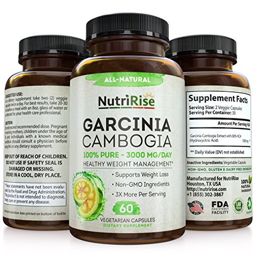 NutriRise Garcinia Cambiogia Dietary Supplemnent, 3000 MG/day, 60 caps