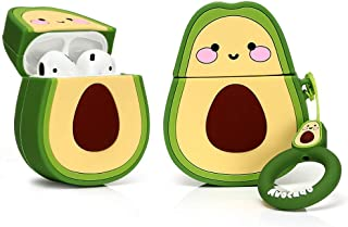 LKDEPO Airpods Silicone Case Funny Cover Compatible for Airpods 1&2 (3D Cartoon Fruit Pattern) (Designed for Kids Girls and Boys) - Smile Avocado