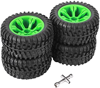 RC Car Tire - RC Wheel Tires with Cross Spanner, 1:12 Off-road Car Hub Tires Wheel Rims Car Model Accessories for WLtoys 1...