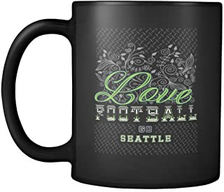Love Football Game Go Seattle Fan Gifts Diamond Plate Black 11oz Mug