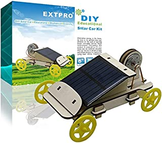 Extpro Wood Solar Car - DIY Assemble Toy Set Solar Powered Car Kit Science Educational Environment-Friendly Toys for Kids Students
