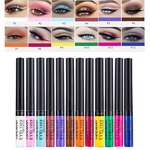 Matte Liquid Eyeliner, Symeas 12 Colors Waterproof High Pigmented Colorful Eye Liner Pen Set