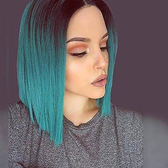 Tintes de Moda Chica Corto Peluca de Pelo Liso de Color Verde ...