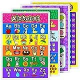 Poster plastifié pour enfants et tout-petits - Posters plastifiés complets pour la maternelle à domicile, la maternelle, la maternelle, 16,9 x 11,9 cm (alphabet, numéro 1-10, numéro 1-100, formes 2D/3D, 4)