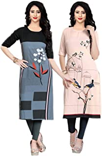 Navlik Women's Crepe Stitched Kurti Combo Pack of 2 (Multi-Coloured)