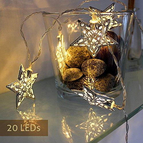 Lichterkette batteriebetrieben außen und innen Kette mit Sterne Beleuchtung LED Sterne warmweiß Dekoration